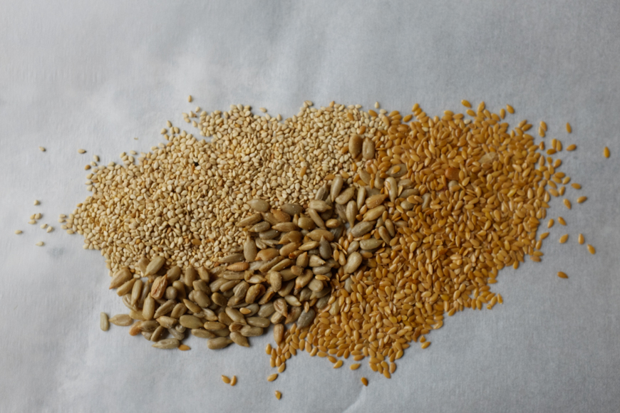 sesame, flax and sunflower seeds