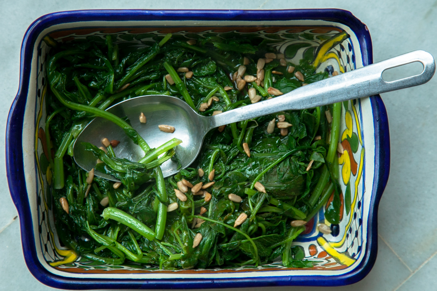 greens with olive oil and lemon