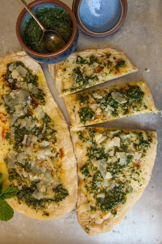 flatbread and green charmoula